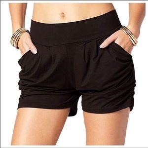 Black boho Harem style soft Shorts wide waistband